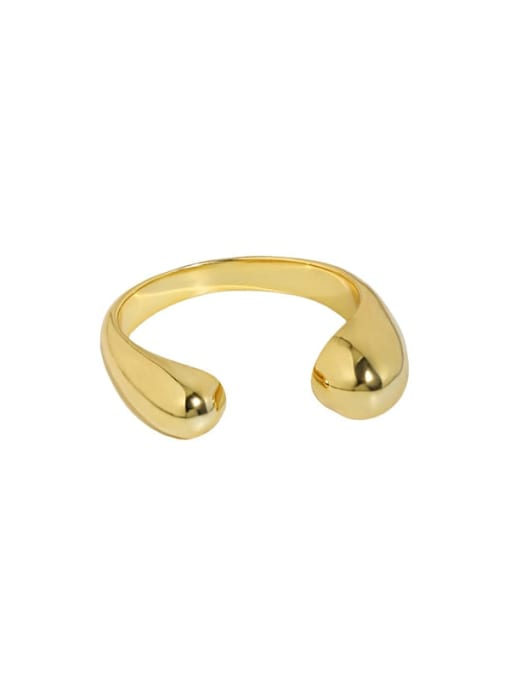 18K gold [13 adjustable] 925 Sterling Silver Water Drop Minimalist Band Ring